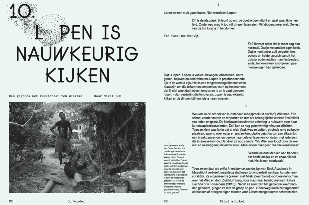 O Wonder Magazine, Yeb Wiersma